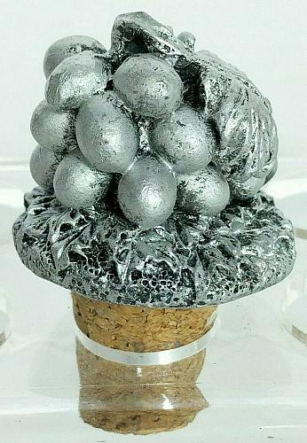 """Bunch Of Grapes Silver Wine Stopper Cork 2.25"""""""