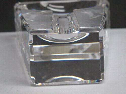 Cut Glass art optical cigar ash tray signed