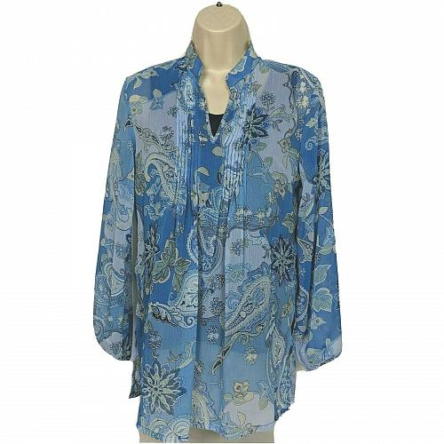 Susan Graver Crinkled Sheer Chiffon Printed Tunic with Knit Tank XXS Floral