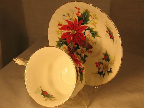 Vintage Teacup and Saucer Royal Albert Poinsettia Fancy Gilt Christmas