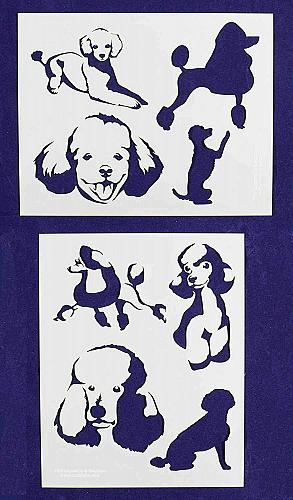 """Poodle Dog Stencils-Mylar 2 Pieces of 14 Mil 8"""" X 10"""" - Painting /Crafts/ Templa"""