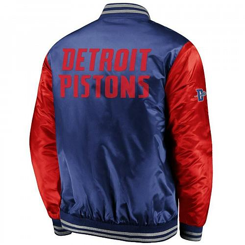 New Detroit Pistons Fanatics Branded Iconic Tackle Twill Satin Jacket - Blue/Red