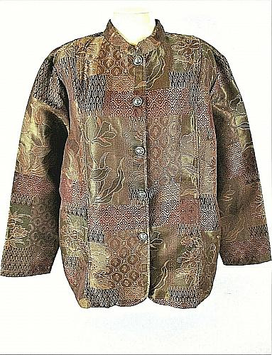 TUDOR COURT womens XL L/S brown TAPESTRY button down 2 side pocket jacket (B3)