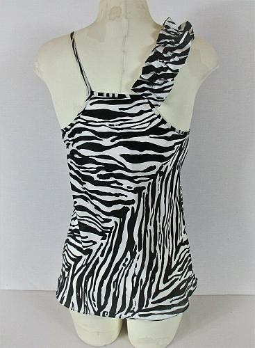 EXPRESS DESIGN STUDIO womens Small sleeveless black white RUFFLE tank top (R)P