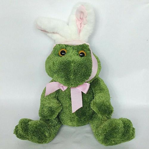 "Animal Adventure Easter Bunny Ears Green Frog Plush Stuffed Animal 2004 12.5"""