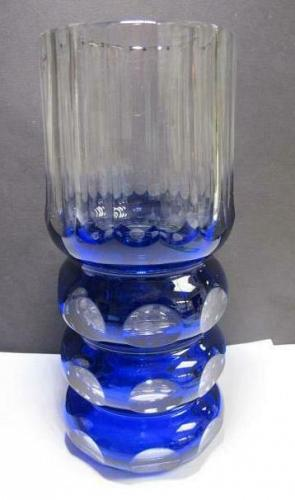 Hand Cut panel Glass blue vase cut to clear