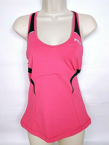 Fila Sport Women's Racerback Tank Top XS Solid Coral Athletic Sleeveless