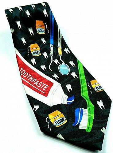 Dentist Dental Hygenist Teeth Toothpaste Toothbrush Floss Novelty Tie