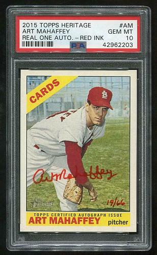 2015 TOPPS HERITAGE REAL ONE RED AUTO TRACY STALLARD PSA 10 GEM MINT (42962206)