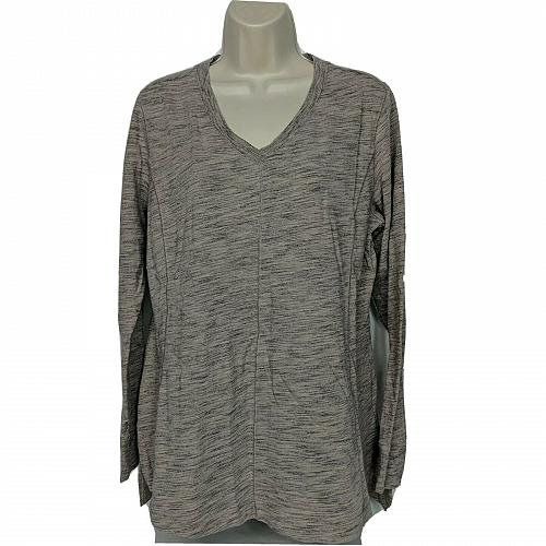 H by Halston Space Dye French Terry V-neck Pullover Size Medium Mauve