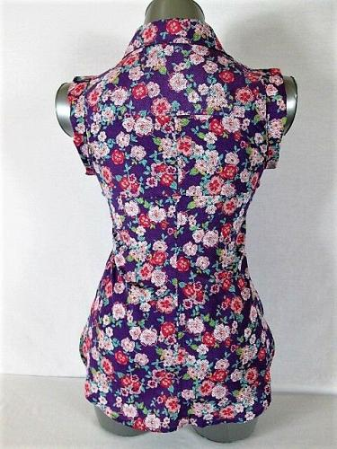 CANDIES womens Sz XS SLEEVELESS MULTI COLOR BUTTON DOWN SEQUIN TOP BLOUSE (G)P