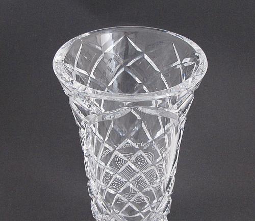 Hand cut 24% lead crystal vase Celtic Shamrock cut glass ireland