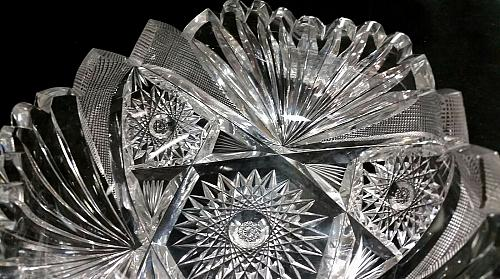 American Brilliant Period hand Cut Glass bowl ABP antique Hand polished