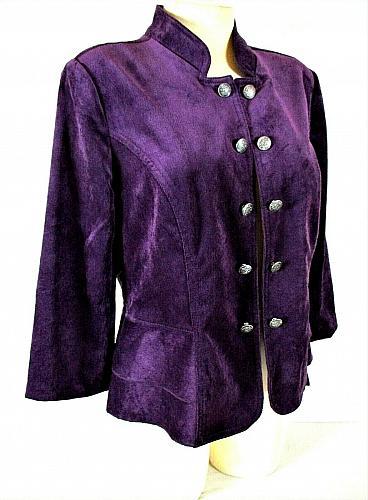 Roz & Ali womens Medium 3/4 sleeve purple VELVET peplum OPEN front jacket (C2)