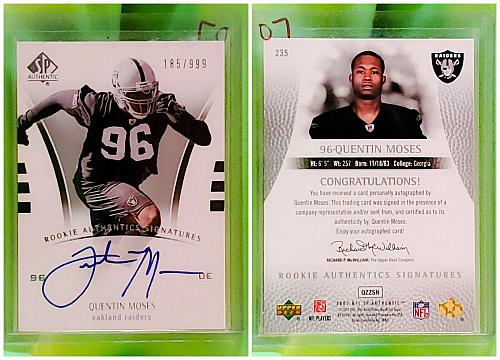 NFL Quentin Moses Raiders Autographed 2007 Upper Deck SP Authentic /999 Mint