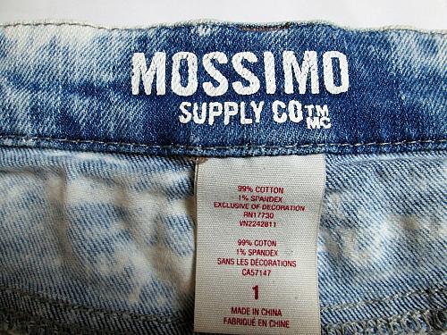 MOSSIMO womens Sz 1 W27 BLUE DENIM ACID WASH EMBROIDERED STRETCH SHORTS (J)