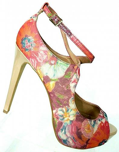 Steve Madden Womens Hottness Multi-color Floral Open Toe Pump Shoes Size 10 M