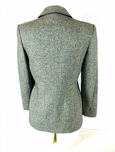 KATE HILL womens Sz 4 L/S gray SILK WOOL blend button up FULLY LINED jacket (B5)