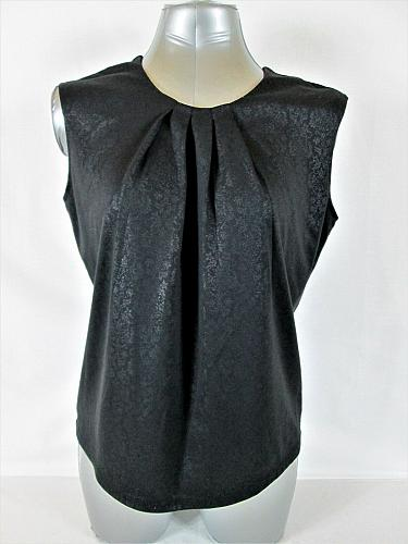 COVINGTON womens Large SLEEVELESS BLACK ZIPPER BACK FLORAL STRETCH TOP (P)