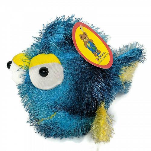 "NWT Toy Network Blue Yellow Long Hair Fish Plush Stuffed Toy 2005 8.5"""