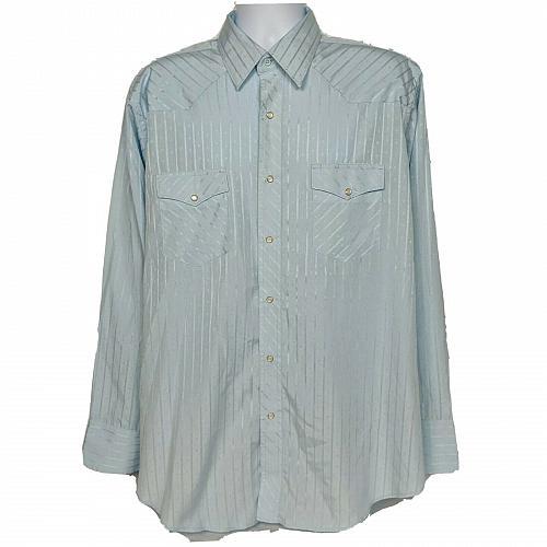 Wrangler Western Pearl Snap Shirt Size XL Blue Striped Long Sleeve