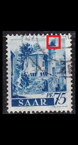 GERMANY Saar [1947] MiNr 0222 PF I ( O/used ) Plattenfehler