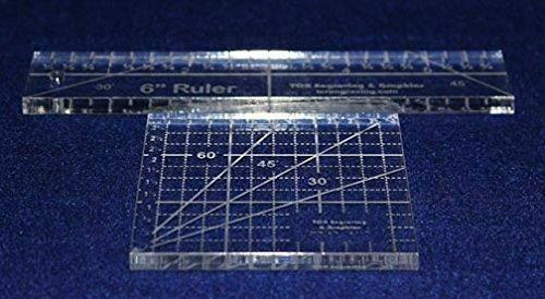 """2 Piece Ruler Set. 3"""" Square & 6"""" Long -Acrylic 1/4"""" thick. Quilting/Sewing"""