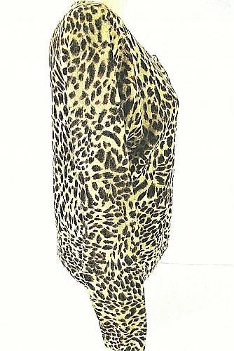 ALLISON BRITTNEY womens XL L/S tan brown ANIMAL PRINT button up STRETCH top (C4)