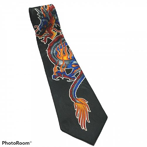 Fiery Dragons Mythical Asian Flaming Novelty Necktie