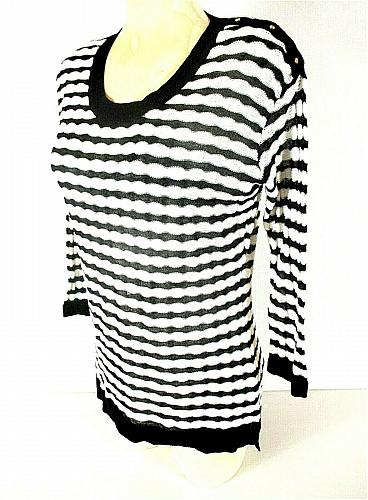 Dana Buchman womens Medium 3/4 sleeve black white striped knit sweater (G)PMTD