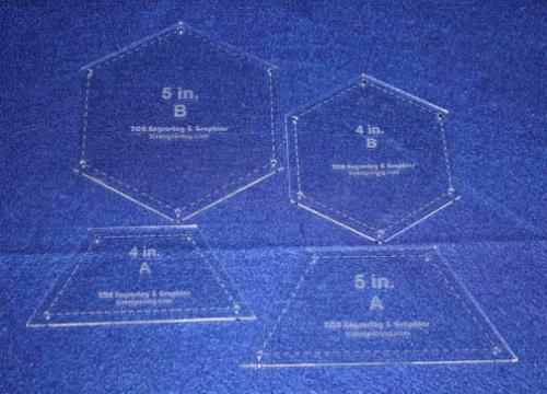 4 Piece Set Quilt Half Hexagons & Hexagons w/ Seam allowance & Guideline Holes