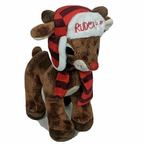 "Dan Dee Rudolph The Red-Nosed Reindeer Hat Scarf Plush Stuffed Animal 12.5"""