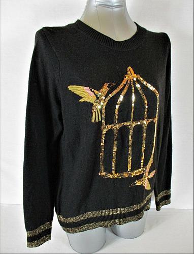 H&M womens Medium L/S black METALLIC gold SEQUINS alpaca BLEND sweater (A5)P