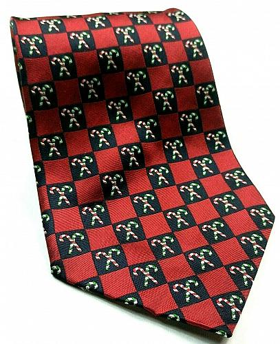Holiday Traditions Green Red Candy Cane Squares Christmas Novelty Silk Tie