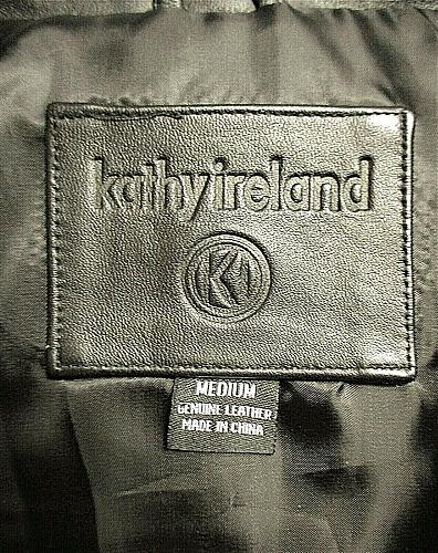 Kathy Ireland womens Medium L/S black genuine LEATHER 2 pocket zip up jacket (F)