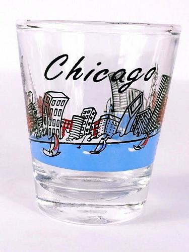 """Chicago Skyscrapers Lake Sailboats 2.25"""" Collectible Shot Glass"""