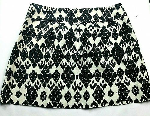 Loft Womens A Line Pleated Skirt Size 14 Black White Geometric Back Zip