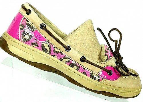 Sperry Top Sider Women's Angelfish Pink Leopard Print Boat Deck Shoes Size 6 M