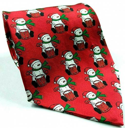 Hallmark Holiday Traditions Snowman Playing Drums Christmas Novelty Silk Tie