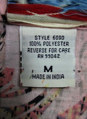 LAS OLAS womens Medium 3/4 sleeve pink blue black RHINESTONE stretch top (G)