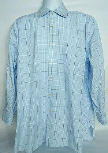 Charles Tyrwhitt Men's Dress Shirt 17 43 Blue White Plaid Long Sleeve