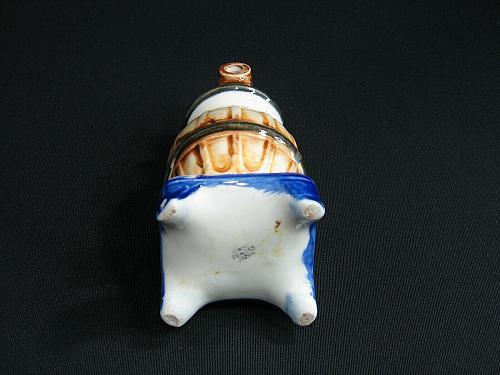 Vintage Porcelain Smoking Pot Bellied Stove Figural Ashtray Snuffer Japan