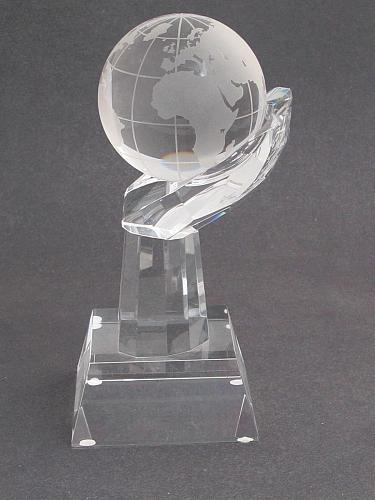 """World Globe optical GLASS in hand 5.25"""" high, Award Gift boxed"""