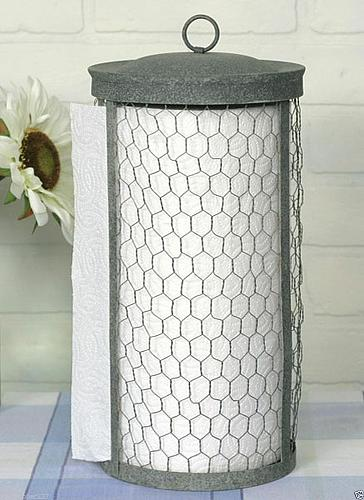 Kitchen Counter Top Paper Towel Holder Dispenser Chicken Wire Country Farmhouse