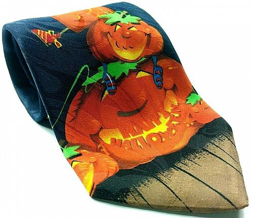 Happy Halloween Pumpkin Jack O Lantern Frankenstein Bats Moon Novelty Tie