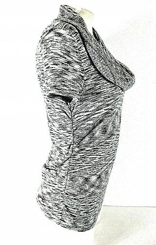 Apt 9 womens Small black gray SILVER METALLIC ruched cowl neck sweater (J)PMTD