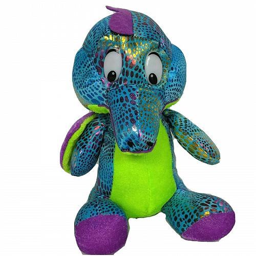 "Asia Direct Blue Green Purple Shiny Dragon Plush Stuffed Animal 2014 8.5"""