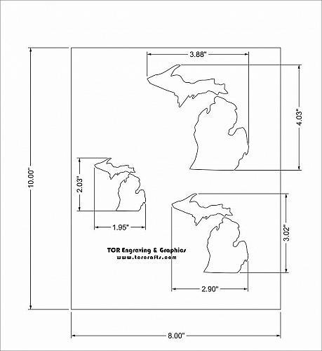 "State of Michigan 8x10 Stencil (2"", 3"", 4"") 14 Mil Mylar - Painting /Crafts/ Tem"