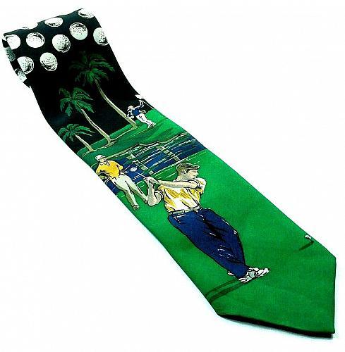 Golf Course Golf Player Palm Tree Novelty Necktie