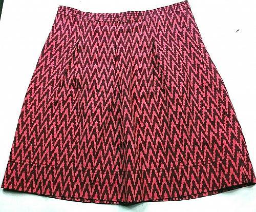 Loft Women's A Line Pleated Skirt Size 4 Pink Brown Zig Zag Print Back Zip